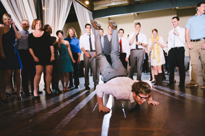 Breakdancing groomsmen