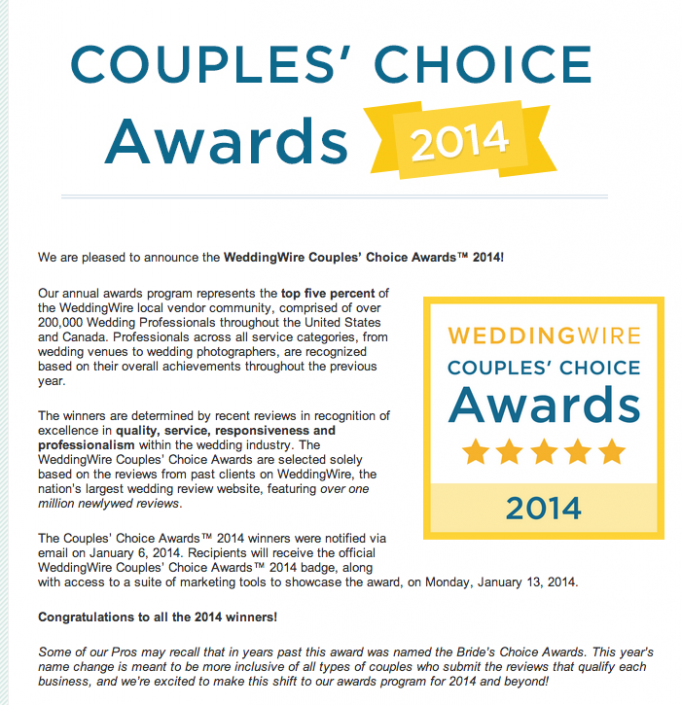 WeddingWire Couples' Choice Awards 2014 » Brita Photography